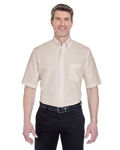 - UltraClub Men's Classic Wrinkle-Free Short-Sleeve Oxford (TAN) (Large)
