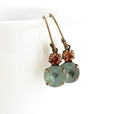 Vintage style earrings in smokey blue and topaz - vintage glass jewels set in brass (Vintage Style Earrings)