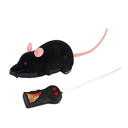 ROSENICE Electronic Remote Control Rat Plush Mouse Toy for Cat Dog Kid (Black)