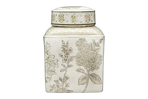 Creative Co-op Small Brown Floral Transferware Stoneware Lid Ginger Jar,