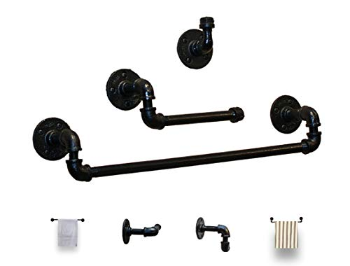 Industrial Farmhouse Black Bathroom Hardware Set- 3 Piece Kit Includes Robe Hook,18 Inch Black Towel Rack And Industrial Toilet Paper Holder. 2 Styles Heavy Duty Pipe Towel Bar DIY. Perfect for Farmho
