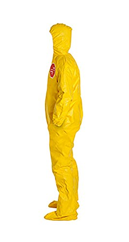 DuPont Tychem 2000 Disposable Chemical Resistant Coverall with Hood and Socks, Elastic Cuff, Yellow, 3X-Large, 12-Pack