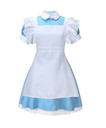 NUOLAN Women's Alice Wonderland Blue French Apron Maid Fancy Dress Cosplay Costume