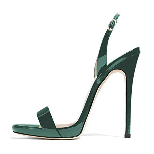 FSJ Women Sexy High Heel Stiletto Sandals Ankle Strap Slingback Open Toe Evening Shoes Size 6.5 Green