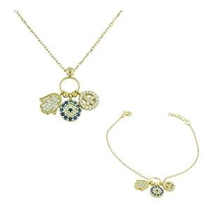 925 Sterling Silver Gold-Tone Hamsa Evil Eye Peace White Blue CZ Necklace Bracelet Set
