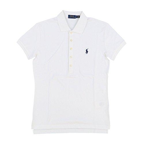 (Polo Ralph Lauren Womens Polo Shirt (Large, White Navy Blue Pony))