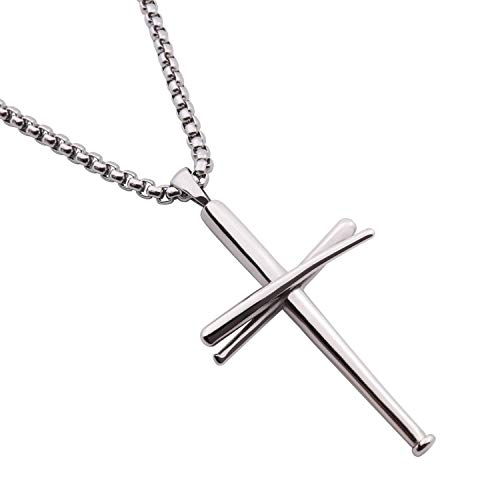 (RMOYI Baseball Bats Athletes Pendant Chain,Sport Stainless Steel Necklaces for Men Women Boys Girls,Silver 20 Inches)