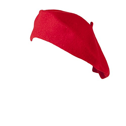 HAT082-Traditional Woolen French Style Red Beret for Women's Fashion and Costumes Red