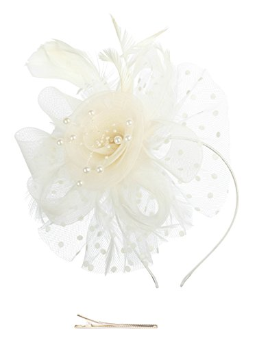 Fascinators Hat for Women Tea Party Headband Kentucky Derby Wedding Cocktail Flower Mesh Feathers Hair Clip (1A-Beige) ()