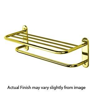 Spa Style - Two Tier Towel Shelf/Bar - Polished Brass
