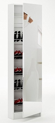 Home Source Tall Shoe Hallway Cabinet Mirrored 6ft White Glass Front