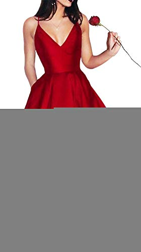 (Yangprom Short Spaghetti Straps V-neck A-line Homecoming Dress with Pockets Red 6)