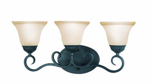 (Woodbridge Lighting 53057-TBK Jamestown 3-Light Bath Light, Textured Black)