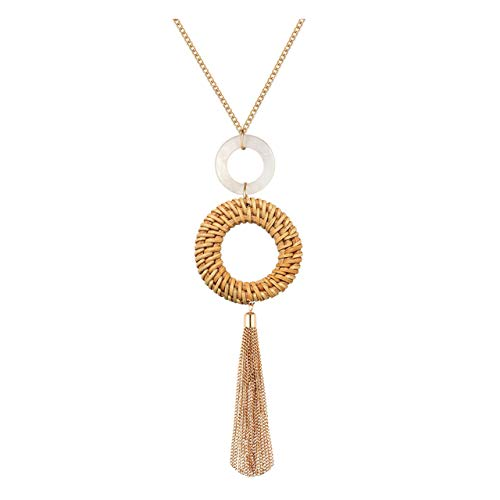 - Tassel Pendant Necklace Handmade Straw Wicker Braid Statement Pendant Y-Shaped Long Chain Necklace for Women (tan)