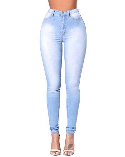 Donna Pantaloni Elastico Pantalone Washed Chiaro Blu Alta Leggings Slim Matita Vita Denim Skinny Jeans WU8gqrFwUB