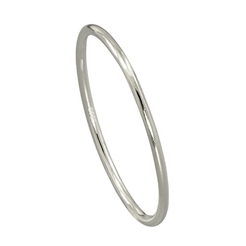 - Paialco Sterling Silver Dome Band Comfort Fit Midi Ring 2mm Skinny Size #6, White Gold Plated