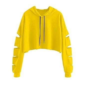 Sudaderas Mujer Tumblr Cortas con Capucha - Andrajoso Manga Camiseta Blusas Invierno Otoño Ropa para Adolescentes Chicas (Amarillo, S)