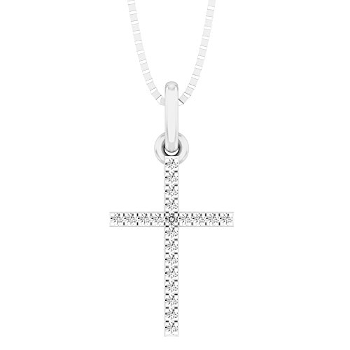 0.05 Carat (ctw) 14K White Gold Round Diamond Ladies Cross Pendant (Silver Chain ()