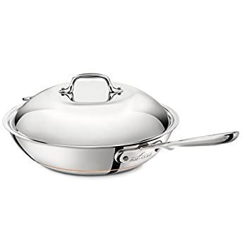 Image of All-Clad 6412 SS Copper Core 5-Ply Bonded Dishwasher Safe Chefs Pan / Cookware,  12-Inch, Silver Home and Kitchen