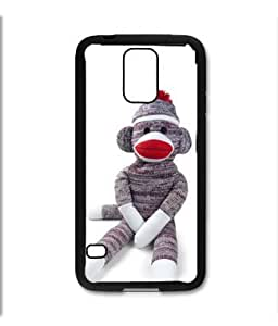 Samsung Galaxy S5 SV Black Rubber Silicone Case - Sock Monkey Doll Stuffed Doll Print