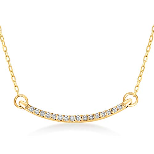 14k Solid Gold 0,04 ct Curved Bar Pendant Chain Necklace for Women - A Perfect Surprise Gift for Her, 18 inch ()