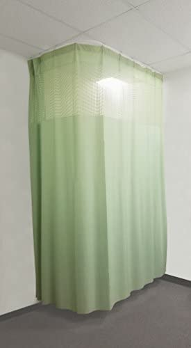 TOA Supply 16Ft Medical Privacy Flexible Curtains High Ceiling Hospital Lab Clinic Curved Room Decorative w Track- 10ft High Green