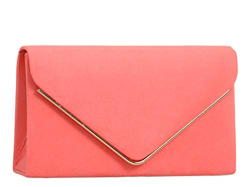 Blue Envelope Clutch Medium Shoulder Strap Evening Classic With Sized Chain Suede London Women's Craze Sky Bag Faux Ladies Purse q01Un
