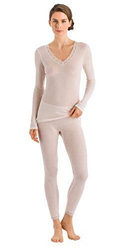 HANRO Women's Woolen Lace Long Sleeve Shirt, Vanilla, Large ()
