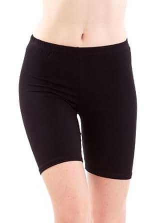 Ladies Black Mid Thigh Cotton Spandex Active Shorts