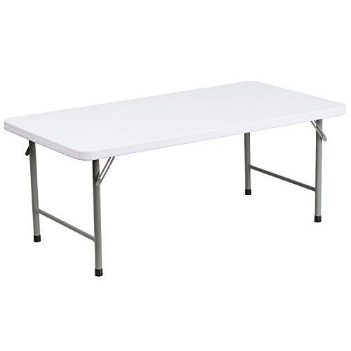 Flash Furniture 24''W x 48''L x 19''H Kid's Granite White Plastic Folding Table by Flash Furniture