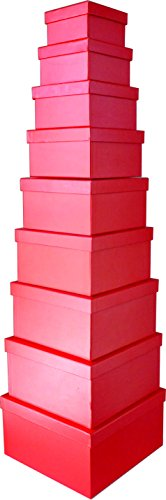 Cypress Lane Square Rigid Gift Box, 11 inches, a Nested Set of 9 (Red)