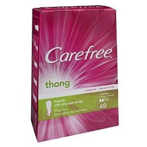 Carefree Thong Pantiliner Unscented 49 Liners Per Box (Carefree Thong Liners Panty)