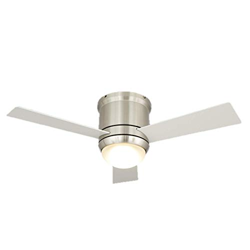 NOMA 38-Inch LED Ceiling Fan with White MDF Blades, Frosted Glass Dome Light and Remote   Silver