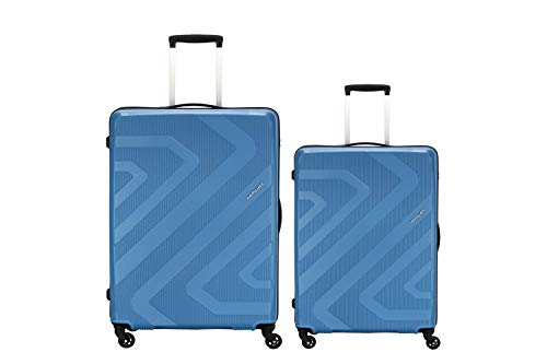 American Tourister Kamiliant Polypropylene  Set of 2 Pc  Small and Medium 4w Hardsided Cabin Checkin Strolly Luggage  ASH Blue