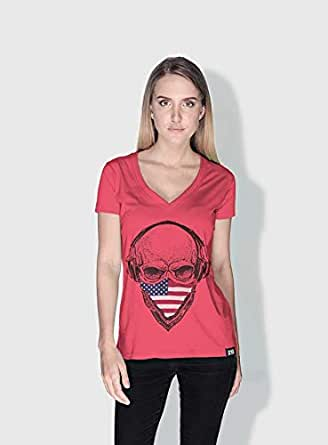 Creo Usa Skull T-Shirts For Women - L, Pink