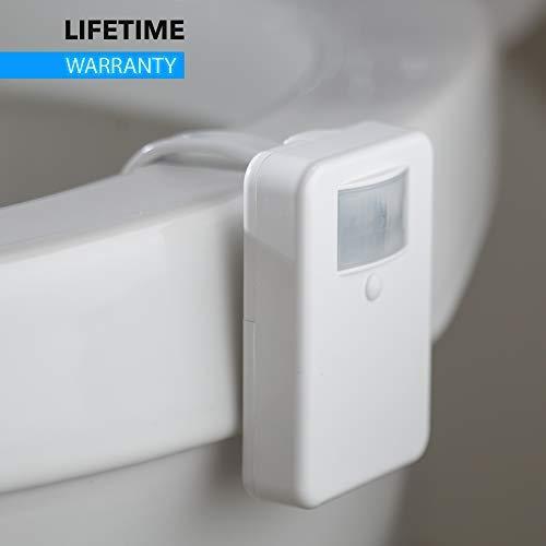 LumiLux Advanced 16Color Motion Sensor LED Toilet Bowl Night Internal Memory Light Detection Stocking Stuffer White