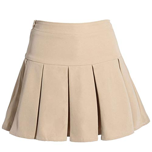 Gaziar Girls' Uniform Skirt Pleated School Skort with Elastic Waistband Khaki