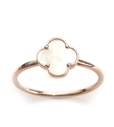 - ZilverPassion Mother of Pearl Four Leaf Clover Sterling Silver Ring, Size 4-15 (rose-gold-flashed-silver, 6)