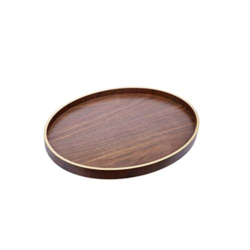 (XQJDD Creative solid wood hotel restaurant tray with handle snack bread tray home fruit side dish plate tray 40x30.5x2.7cm)