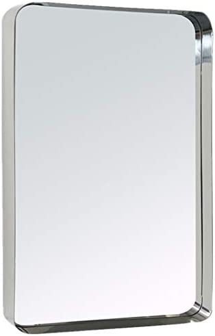 Amazon Com Tehome 20x30 Polished Silver Metal Framed Bathroom Mirror For Wall In Stainless Steel Rounded Rectangular Bathroom Vanity Mirrors Wall Mounted Kitchen Dining