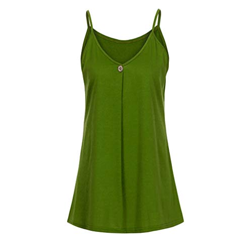 Casual Blouse Tank Loose Tops T-Shirt Womens Solid Button Sleeveless Vest Tops Green ()