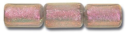 Paula Radke Pink Clear Dichroic 7x8 Tube - Dichroic Clear Tube Glass
