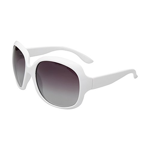 BVAGSS Women Shades Classic Oversized Polarized Sunglasses UV Protection Eyewear WS030 (White Frame, Black Lens)