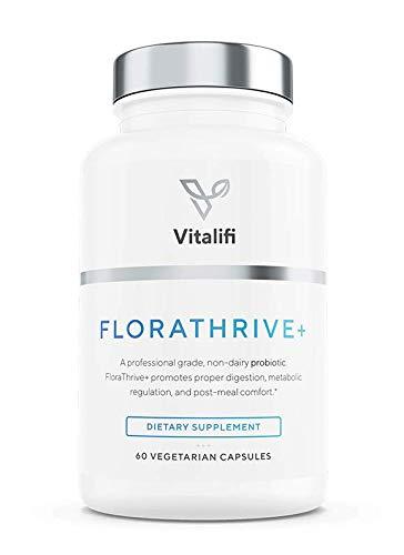 FloraThrive+- Premium Vegan Probiotic Supplement with Prebiotics- for Women & Men- 30 Billion CFU, 7 Strains of Good Bacteria- Promotes Digestion, Metabolic Regulation & Post Meal Comfort| 60 Capsules