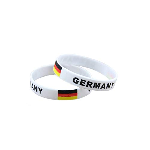 5Pcs Soccer Silicone Bracelets 2018 World Game Bracelet Rubber Wristbands World Cup Flag Silicone Bracelet for Sports Fan(Germany) ()
