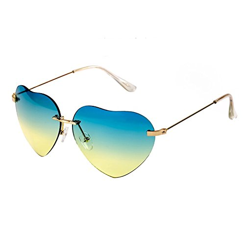 Fashion Women Heart Shaped Style Metal Frame Sunglasses Eyewear,Blue and - Glasses Express Kid With Polar