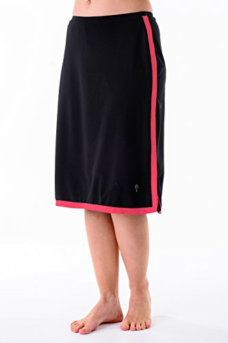 HydroChic Plus Size Aqua Adventure Border Skirt 1X In Black/Bright Coral by HydroChic