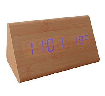WDDqzf Reloj Despertador Digital de Madera de Madera LED, Relojes de Escritorio con Control de Sonido y Temperatura, Pantalla electrónica y decoración del ...