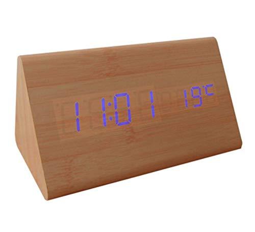 WDDqzf Reloj Despertador Digital de Madera de Madera LED, Relojes de Escritorio con Control de