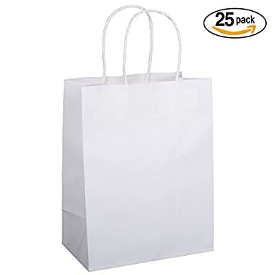 "BagDream 25PCS Shopping Bag 8x4.75x10.5"", Cub, Paper Bags, Gift Bags, Kraft Bags, Retail Bags, White Paper Bags with Handles"